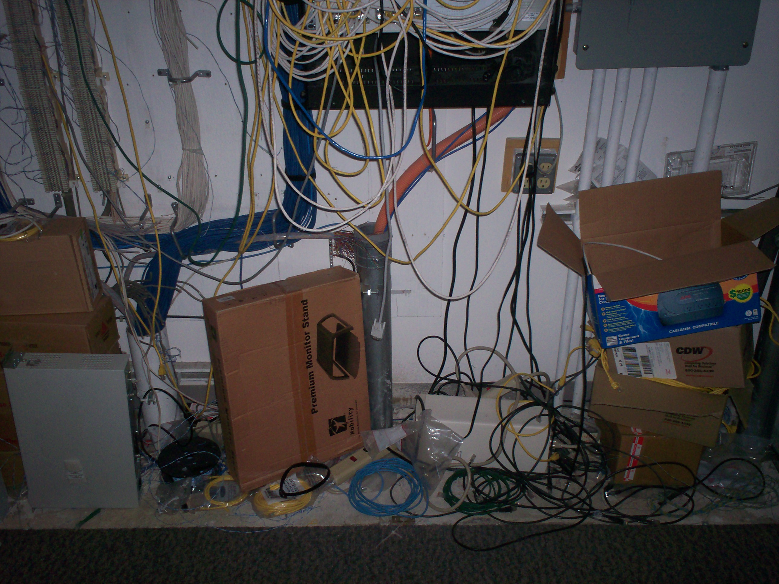 I Used To Work Here Around Teh Table Wiring Closet Mess The Floor Of Comm