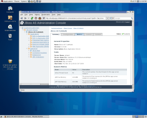 The JBoss Administration Console accessed from my Red Hat workstation