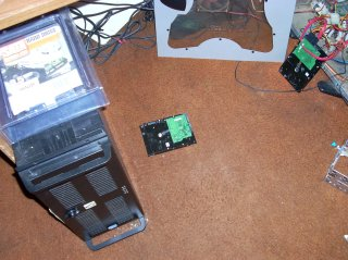 The Server, a brand new SATA drive, an assumed dead SATA drive, and the test PC