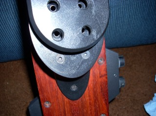 The adjustment screws for the belt hook