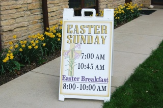 Sandwich Board with Easter Worship Schedule