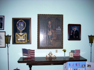The display in the vestibule of the West Allis Masonic Temple