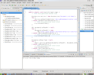 Eclipse IDE showing output from GoogleDocs API proof of concept code