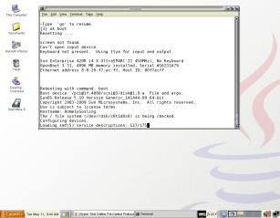 UglyDuckling's desktop with a GNOME terminal session containing a tip hardwire connection to HomelyGosling's console port