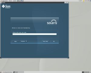 Solaris 10 login screen over Remote X11