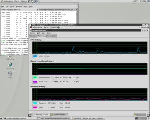 Horde's desktop with two terminal tabs and a VNC session into dustpuppy watching activity levels