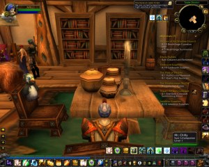 Mr. Chilly hovering above a chair in Stormwind