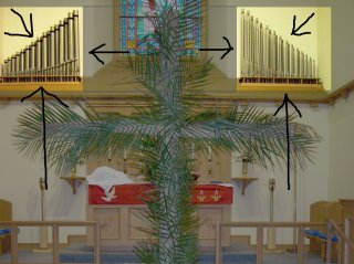 The five ranks of the Chancel Organ