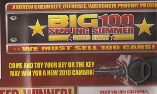 """Come and try your key or the key may win you a new 2010 Camaro!"""