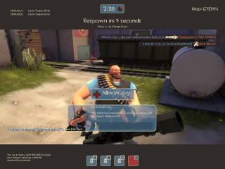 A smug Heavy and a very surprised and dead RED Sniper.