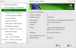 The NVidia settings tool