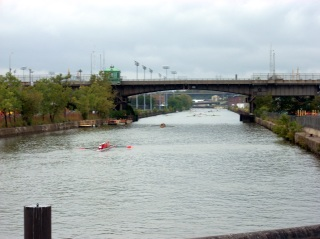 The finish line is the end of the navigable portion of the river, just past the furthest visible bridge