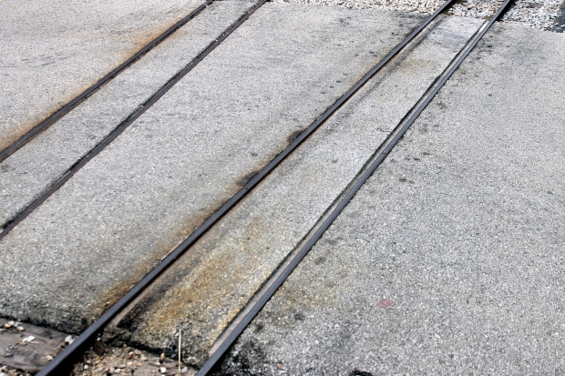 Narrow Gauge Rails Through Concrete