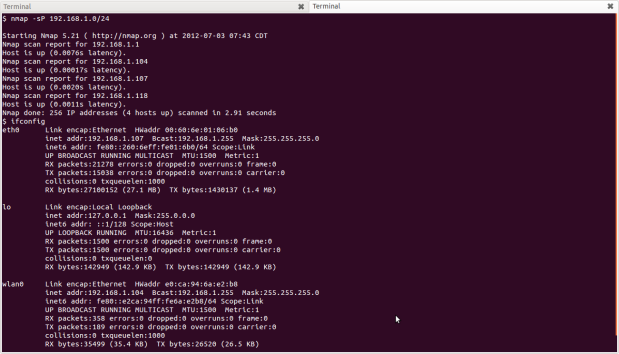 running nmap from my lappy